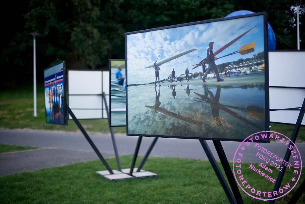 Poznan, Poland - 2018 July 26: Rowing photoexhibition during 2018 World Rowing Under 23 Championships on Malta Lake on July 26, 2018 in Poznan, Poland.<br /> <br /> Adam Nurkiewicz declares that he has no rights to the image of people at the photographs of his authorship.<br /> <br /> Picture also available in RAW (NEF) or TIFF format on special request.<br /> <br /> Any editorial, commercial or promotional use requires written permission from the author of image.<br /> <br /> Image can be used in the press when the method of use and the signature does not hurt people on the picture.<br /> <br /> Mandatory credit:<br /> Photo by © Adam Nurkiewicz / Mediasport