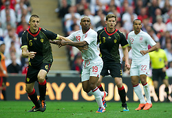 LONDON, ENGLAND - Saturday, June 2, 2012: England's Jermain Defoe in action against Belgium's Timmy Simons during the International Friendly match at Wembley. (Pic by David Rawcliffe/Propaganda)
