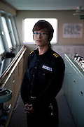 "Assistance captain on the captains bridge of the ""Eastern Dream"" ferry connecting Donghae in South Korea with Vladivostok in Russia. Donghae, South Korea, Republic of Korea, KOR, 12.01.2010."