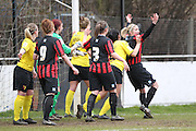 Tussles between Leigh Anne Globe and Kirsty Barton during the Women's FA Cup match between Watford Ladies FC and Brighton Ladies at the Broadwater Stadium, Berkhampstead, United Kingdom on 1 February 2015. Photo by Stuart Butcher.