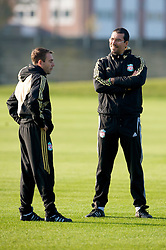 LIVERPOOL, ENGLAND - Monday, November 3, 2008: Liverpool's fitness coaches Paco De Miguel and Gonzalo Rodriguez during training at Melwood ahead of the UEFA Champions League Group D match against Club Atletico de Madrid. (Photo by David Rawcliffe/Propaganda)