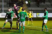 LJUNGSKILE SVERIGE - 2017-11-04: Simon Forslund m&aring;lvakt Ljungskile SK g&ouml;r en r&auml;ddning under kvalmatchen till Superettan mellan Ljungskile SK och Mj&auml;llby AIF p&aring; Skarsj&ouml;vallen den 4 november i Ljungskile, Sverige.<br /> Foto: Jonas Gustafsson/Ombrello<br /> ***BETALBILD***