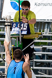 Gregor Perhaj (Asics MojcaSport outlet) talking to referee at semi final of Beachmaster 2010 tournament for Slovenian BeachTour on July 17, 2010, in Ptuj, Slovenia. (Photo by Matic Klansek Velej / Sportida)