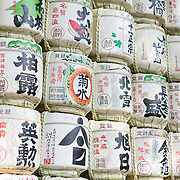 Sake barrels form a tribute to shinto gods at Meiji Jingu in Shubuya district of Tokyo.