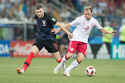 July 1, 2018 - Nizhny Novgorod, Russia - Ante Rebic of Croatia vies Michael Krohn-Dehli of Denmark during the 2018 FIFA World Cup Russia Round of 16 match between Croatia and Denmark at Nizhny Novgorod Stadium on July 1, 2018 in Nizhny Novgorod, Russia. (Credit Image: © Foto Olimpik/NurPhoto via ZUMA Press)