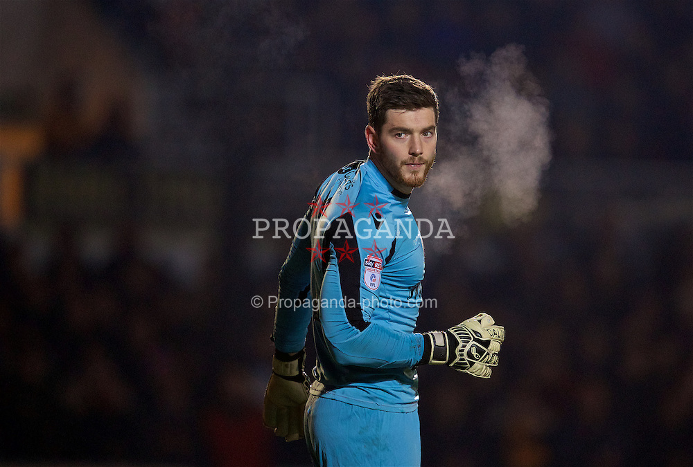 NEWPORT, WALES - Wednesday, December 21, 2016: Newport County's goalkeeper Joe Day in action against Plymouth Argyle during the FA Cup 2nd Round Replay match at Rodney Parade. (Pic by David Rawcliffe/Propaganda)