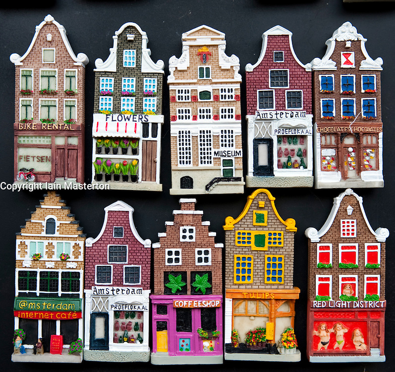 Many fridge magnets in shape of traditional dutch houses for Classic dutch house of 60m2