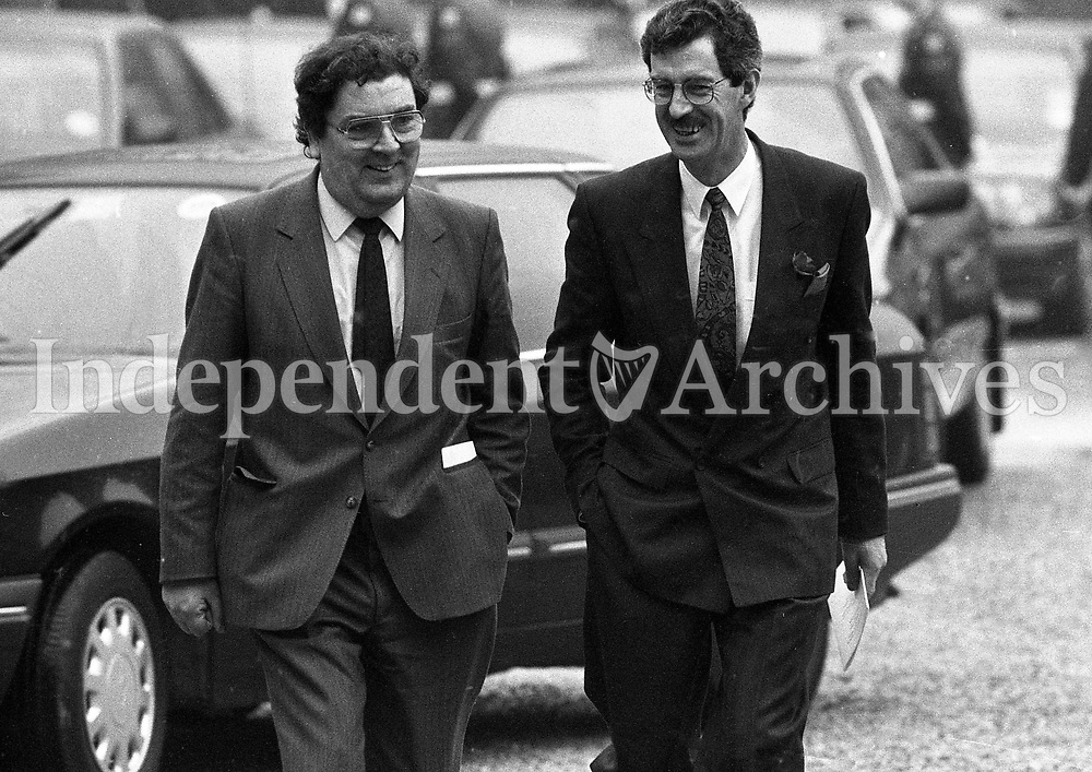 John Hume and Dick Spring arrivng at Dublin Castle for the Inauguration of the New President of Ireland Mary Robinson, 03/12/1990 (Part of the Independent Newspapers Ireland/NLI Collection).