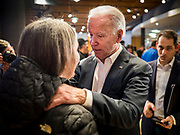 30 JANUARY 2020 - NEWTON, IOWA: Vice President JOE BIDEN talks to people on the rope line during a campaign event in Newtown. About 150 people came to Newton, about 30 miles east of Des Moines, to listen to Vice President Biden talk about his reasons for running for President. Biden used the event to outline the differences between himself and President Trump, while President Trump was in Des Moines Thursday campaigning against Democrats, especially Vice President Biden. Iowa hosts the first event of the presidential election cycle. The Iowa Caucuses are Feb. 3, 2020.          PHOTO BY JACK KURTZ