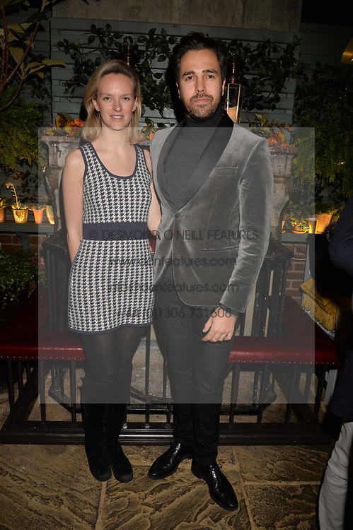 Diego Bivero-Volpe and Charlotte Carroll at The Ivy Chelsea Garden's Guy Fawkes Party, 197 King's Road, London, England. 05 November 2017.