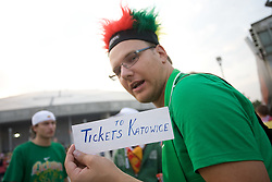 Lithuanian fans selling tickets for next days of the EuroBasket 2009 after the match Lithuania vs Serbia when Lithuania didn't qualified for the quarterfinals, on September 16, 2009 in Arena Lodz, Hala Sportowa, Lodz, Poland.  (Photo by Vid Ponikvar / Sportida)
