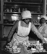 Parlourmaids ready to serve tea, 1939