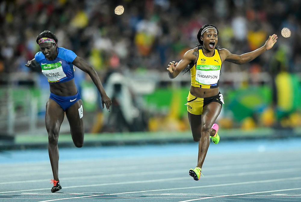 Jamaican sprinter Elaine Thompson won the gold medal in the women's 100m final with United States sprinter Tori Bowie, left, finishing second on Saturday at the Olympic Stadium during the 2016 Summer Olympics Games in Rio de Janeiro, Brazil.