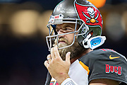 NEW ORLEANS, LA - SEPTEMBER 9:  Ryan Fitzpatrick #14 of the Tampa Bay Buccaneers during a timeout against the New Orleans Saints at Mercedes-Benz Superdome on September 9, 2018 in New Orleans, Louisiana.  The Buccaneers defeated the Saints 48-40.  (Photo by Wesley Hitt/Getty Images) *** Local Caption *** Ryan Fitzpatrick