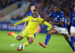 LEICESTER, ENGLAND - Wednesday, April 29, 2015: Chelsea's Didier Drogba in action against Leicester City's captain Wes Morgan during the Premier League match at Filbert Way. (Pic by David Rawcliffe/Propaganda)