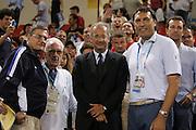 ATENE, 15 AGOSTO 2004<br /> BASKET, OLIMPIADI ATENE 2004<br /> ITALIA - NUOVA ZELANDA<br /> NELLA FOTO: VALTER VELTRONI DINO MENEGHIN<br /> FOTO CIAMILLO