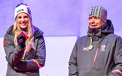 27.02.2018, Salzburg, AUT, PyeongChang 2018, ÖOC Medaillenfeier, im Bild v.l.: ÖSV Präsident Peter Schröcksnadel, Anna Gasser // during a ÖOC medal celebration Party after the Olympic Winter Games Pyeongchang 2018 in Salzburg, Austria on 2018/02/27. EXPA Pictures © 2018, PhotoCredit: EXPA/ JFK