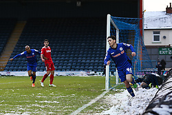 Rochdale's Ian Henderson celebrates after scoring Rochdale's second goal  - Photo mandatory by-line: Matt McNulty/JMP - Mobile: 07966 386802 - 17.01.2015 - SPORT - Football - Rochdale - Spotland Stadium - Rochdale v Crawley Town - Sky Bet League One