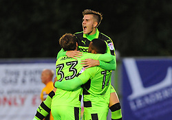 Daniel Wishart of Forest Green Rovers celebrates with Charlie Cooper of Forest Green Rovers- Mandatory by-line: Nizaam Jones/JMP - 29/08/2017 - FOOTBALL - New Lawn Stadium - Nailsworth, England - Forest Green Rovers v Newport County - Checkatrade Trophy