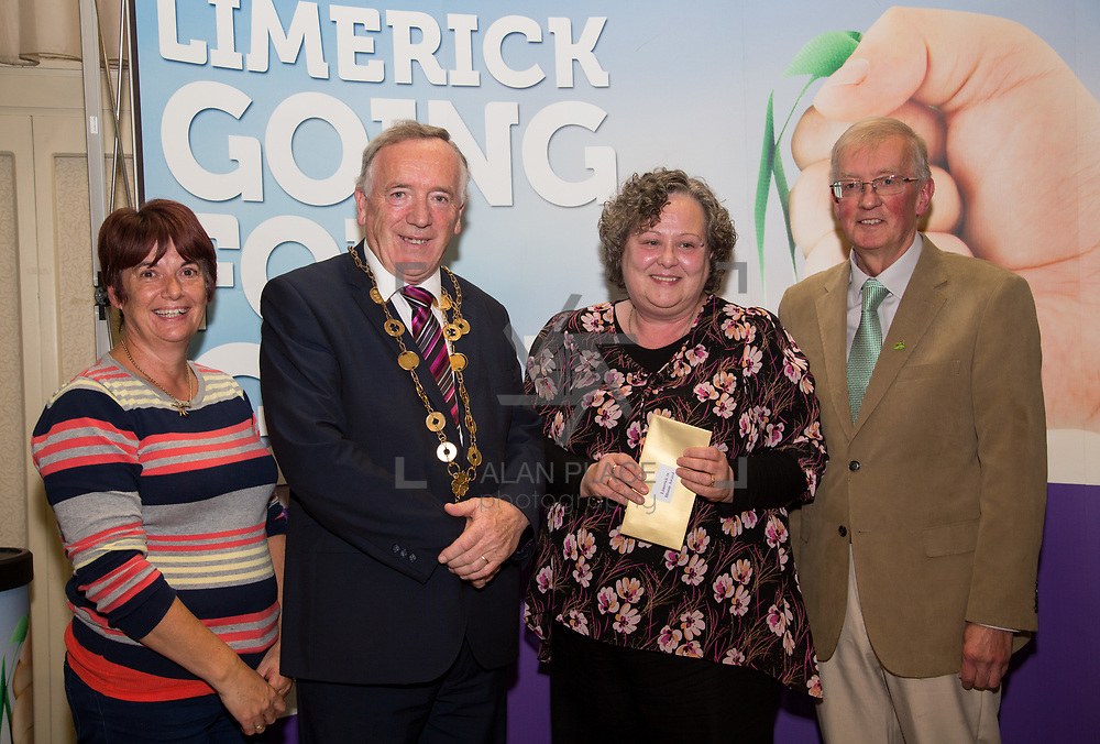 10.10. 2017. <br /> Mayor of the City and County of Limerick Cllr Stephen Keary and Noel Earlie, JP McManus Charitable Foundation presented  the Going for Gold 2017 Limerick in Bloom second place (€3,000) to Patrickswell accepted by Rita Madigan and Patricia Carroll.                     <br /> <br /> Limerick Going for Gold, which is sponsored by the JP McManus Charitable Foundation, has a total prize pool of over €75,000.  It is organised by Limerick City and County Council and supported by Limerick's Live 95FM, The Limerick Leader and The Limerick Chronicle, The Limerick Post, Parkway Shopping Centre, I Love Limerick and Southern Marketing Media & Design. Picture: Alan Place