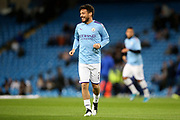 Manchester City midfielder David Silva (21) warming up during the Champions League match between Manchester City and Dinamo Zagreb at the Etihad Stadium, Manchester, England on 1 October 2019.