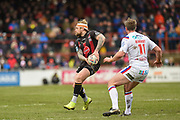 Blake Austin (6) of Warrington Wolves on the attack during the Betfred Super League match between Wakefield Trinity Wildcats and Warrington Wolves at Belle Vue, Wakefield, United Kingdom on 16 February 2020.