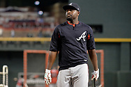 Jul 24, 2017; Phoenix, AZ, USA; <br /> Atlanta Braves infielder Brandon Phillips (4) during batting practice for the MLB game against the Arizona Diamondbacks at Chase Field. Mandatory Credit: Jennifer Stewart-USA TODAY Sports