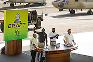 January 27 2016: ESPN Mike Tirico, Pro Football Hall of Famers Michael Irving and Jerry Rice, ESPN Jon Gruen during the Pro Bowl Draft at Wheeler Army Base on Oahu, HI. (Photo by Aric Becker/Icon Sportswire)