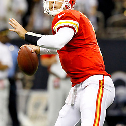 September 23, 2012; New Orleans, LA, USA; Kansas City Chiefs quarterback Matt Cassel (7) throws against the New Orleans Saints during the second quarter of a game at the Mercedes-Benz Superdome. The Chiefs defeated the Saints 27-24 in overtime. Mandatory Credit: Derick E. Hingle-US PRESSWIRE