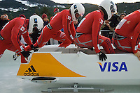 The Canadian team of Lyndon Rush, Robert Sean Thomas Gray, Chris Le Bihan and Lascelles Brown compete in the Mens' four-person bobsleigh World Cup competition held at the Whistler Sliding Centre on Feb 7, 2009