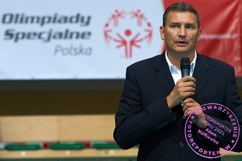 Witold Roman - Vicepresident of Polish Volleyball Federation speaks while opening ceremony during of The Special Olympics Unified Volleyball Tournament at Ursynow Arena in Warsaw on August 27, 2014.<br /> <br /> Poland, Warsaw, August 27, 2014<br /> <br /> For editorial use only. Any commercial or promotional use requires permission.<br /> <br /> Mandatory credit:<br /> Photo by &copy; Adam Nurkiewicz / Mediasport