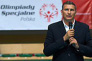 Witold Roman - Vicepresident of Polish Volleyball Federation speaks while opening ceremony during of The Special Olympics Unified Volleyball Tournament at Ursynow Arena in Warsaw on August 27, 2014.<br /> <br /> Poland, Warsaw, August 27, 2014<br /> <br /> For editorial use only. Any commercial or promotional use requires permission.<br /> <br /> Mandatory credit:<br /> Photo by © Adam Nurkiewicz / Mediasport