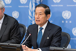 May 3, 2017 - New York, NY, United States - Yukio Takasu, Under-Secretary-General for Management of the United Nations, held a press briefing at UN Headquarters to offer his periodic report on the funding of the organization and its projected budget allocations. (Credit Image: © Albin Lohr-Jones/Pacific Press via ZUMA Wire)