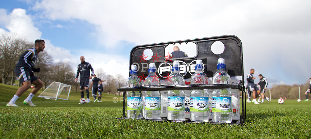 CARDIFF, WALES - Tuesday, March 24, 2015: Princes Gate water during a Wales training session at the Vale of Glamorgan ahead of the UEFA Euro 2016 qualifying Group B match against Israel. (Pic by David Rawcliffe/Propaganda)