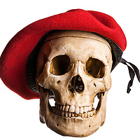French Skull with red barret hat.