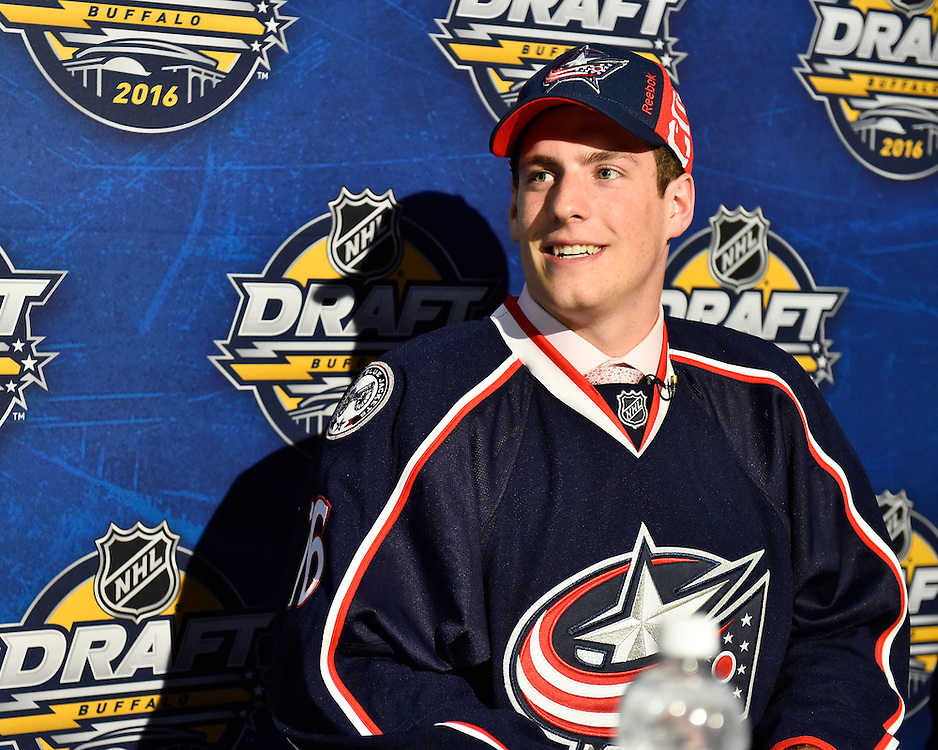 Pierre-Luc Dubois of the Cape Breton Screaming Eagles was selected by the Columbus Blue Jackets in the first round of the 2016 NHL Entry Draft in Buffalo, NY on Friday June 24, 2016. Photo by Aaron Bell/CHL Images