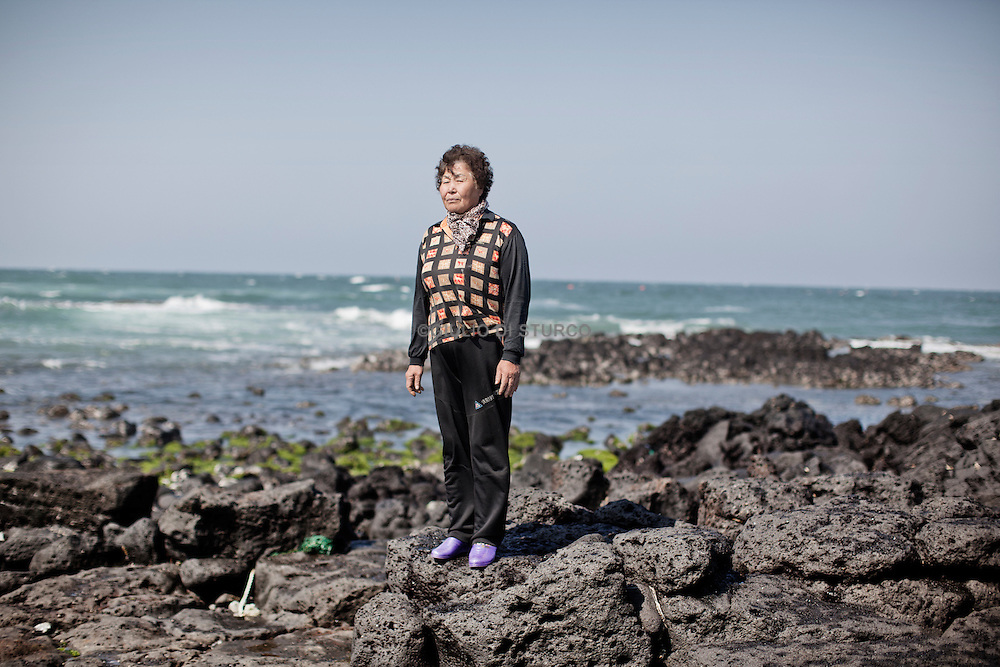 "JEJU ISLAND, SOUTH KOREA, APRIL 2011:  Hyun Grap Chun, 66 years old, she is a Haenyo since more then 30 years."" ther is nothing else to do in this Island and is a good job for the health of your body "" she said..."