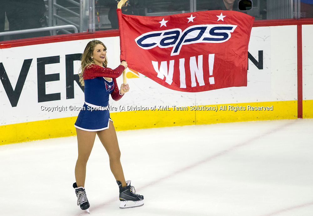 WASHINGTON, DC - MAY 21: Red Rocker makes the announcement at the end of game 6 of the NHL Eastern Conference  Finals between the Washington Capitals and the Tampa Bay Lightning, on May 21, 2018, at Capital One Arena, in Washington D.C. The Caps defeated the Lightning 3-0<br /> (Photo by Tony Quinn/Icon Sportswire)