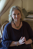 Hilary Mantel, writer, photographed at home.