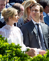Ivanka Trump and Jared Kushner await the arrival of United States President Donald J. Trump and King Abdullah II of Jordan ahead of a joint press conference in the Rose Garden of the White House in Washington, DC on Wednesday, April 5, 2017.<br /> Credit: Ron Sachs / CNP *** Please Use Credit from Credit Field ***