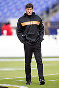 Cincinnati Bengals offensive coordinator Bill Lazor looks on during pregame warmups before the NFL week 11 regular season football game against the Baltimore Ravens on Sunday, Nov. 18, 2018 in Baltimore. The Ravens won the game 24-21. (©Paul Anthony Spinelli)