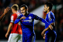 Pedro of Chelsea celebrates scoring a goal to make it 1-4 - Mandatory byline: Rogan Thomson/JMP - 07966 386802 - 23/09/2015 - FOOTBALL - Bescot Stadium - Walsall, England - Walsall v Chelsea - Capital One Cup.