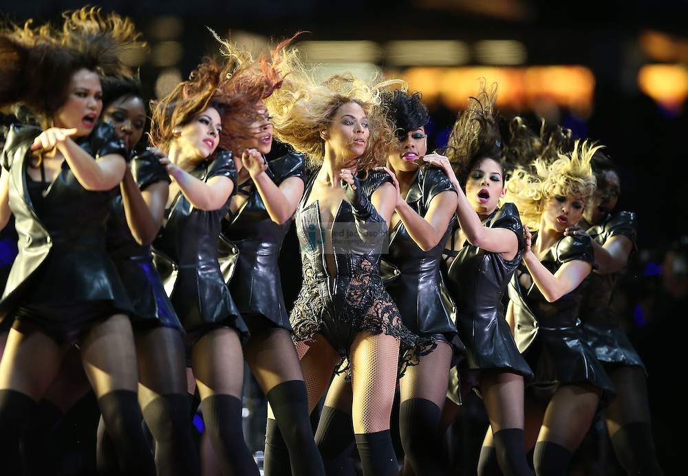Beyonce performs during the Pepsi Super Bowl XLVII halftime show at the NFL Super Bowl XLVII football game between the San Francisco 49ers and the Baltimore Ravens, Sunday, Feb. 3, 2013, in New Orleans. The Ravens won the game, 34-31.  (Photo by Jed Jacobsohn)