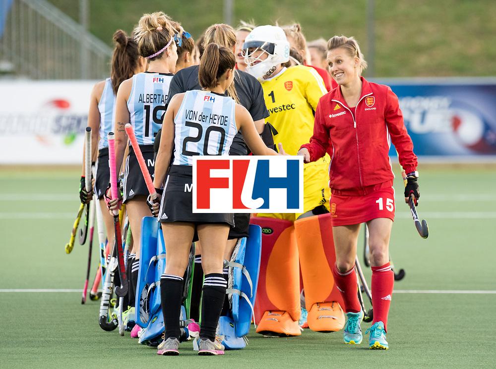 AUCKLAND - Sentinel Hockey World League final women<br /> Match id 10298<br /> 08 Argentina v England 1-0<br /> Foto: Line up, Alex Danson (C) <br /> WORLDSPORTPICS COPYRIGHT FRANK UIJLENBROEK