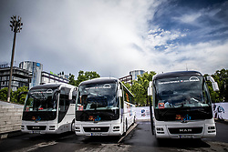 Official busses of Swiss, Canadian and Czech teams prior to the 2017 IIHF Men's World Championship group B Ice hockey match between National Teams of Czech Republic and Slovenia, on May 12, 2017 in AccorHotels Arena in Paris, France. Photo by Vid Ponikvar / Sportida