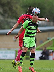 Forest Green Rovers's David Pipe challenges Dover Athletic's Nick Deverdicks for the high ball.  - Photo mandatory by-line: Nizaam Jones - Mobile: 07966 386802 - 25/04/2015 - SPORT - Football - Nailsworth - The New Lawn - Forest Green Rovers v Dover - Vanarama Conference League