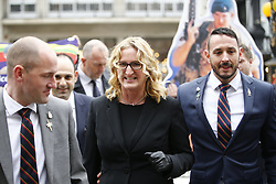 © Licensed to London News Pictures. 24/03/2017. London, UK. CLAIRE BLACKMAN (C), wife of Sergeant Alexander Blackman, arrives at the Royal Courts of Justice in London, where the sentencing of Sgt Blackman will take place. Also known as Marine A, Sgt Blackman's life sentence was reduced to manslughter for killing a wounded Taliban fighter in Afghanistan in 2011. Photo credit: Tolga Akmen/LNP