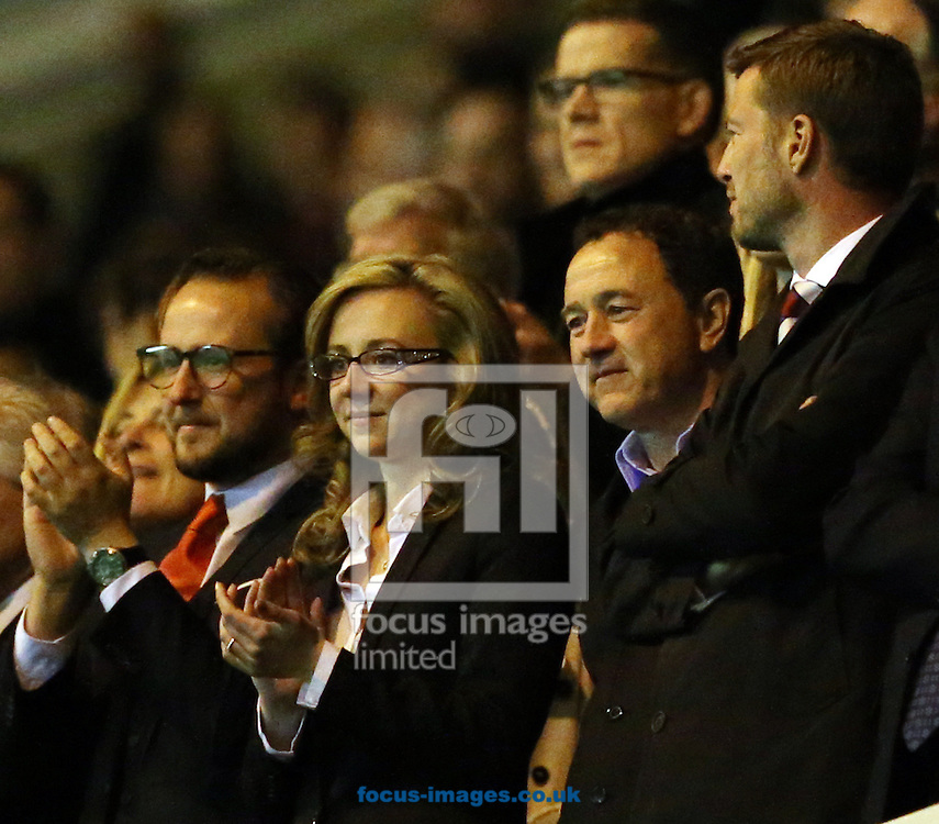 Middlesbrough Chairman Steve Gibson (2nd right) after the Sky Bet Championship Semi-final 2nd leg at the Riverside Stadium, Middlesbrough<br /> Picture by Simon Moore/Focus Images Ltd 07807 671782<br /> 15/05/2015