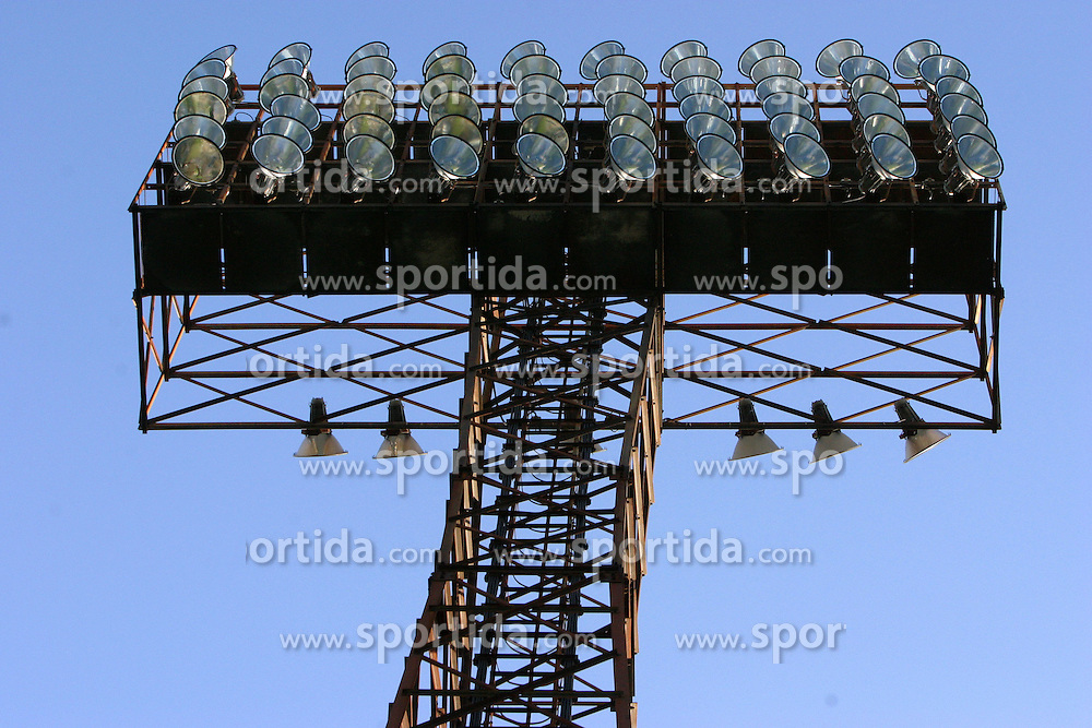 Lights at Bezigrad stadion for football made by Joze Plecnik in year 1935, before rebuilded in 2008. (Photo by Vid Ponikvar / Sportal Images)..