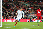 England defender, Chris Smalling (06) after scoring opening goal 1-0 during the Friendly International match between England and Portugal at Wembley Stadium, London, England on 2 June 2016. Photo by Matthew Redman.